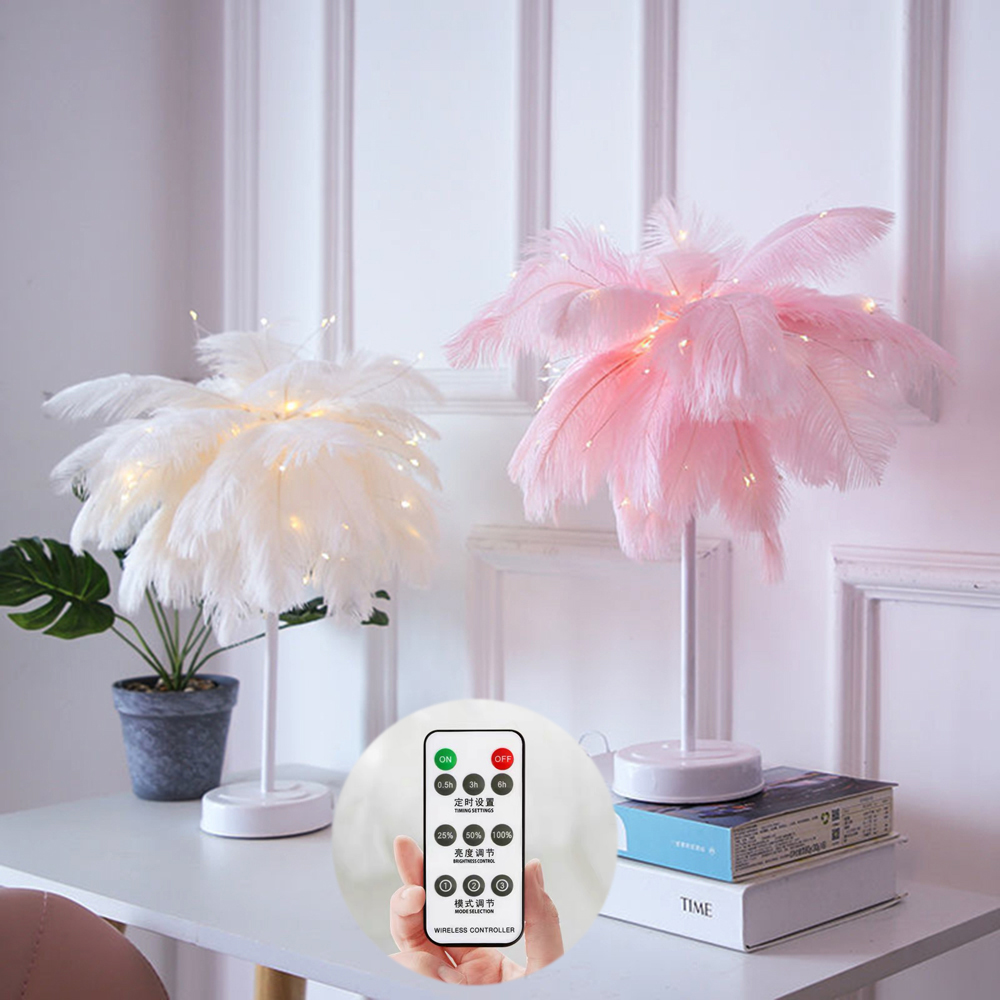 Novelty White Pink Feather Light Remote Fairy Night Lamp With Battery&USB For Home Room Bedroom Party Wedding Decorative