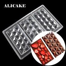 Moules à chocolat en Polycarbonate 3D, barre de chocolat en diamant, plateau de cuisson en plastique, outils de pâtisserie