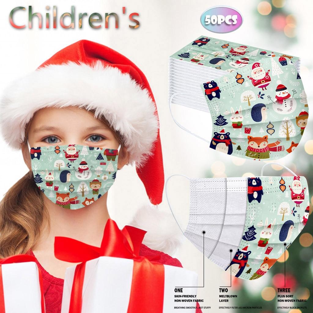 50 шт., детская Рождественская маска для лица, одноразовая маска, промышленная, 3 слоя, петля, маска для рта, Mascherine Mondkapjes Masque Mascarillas