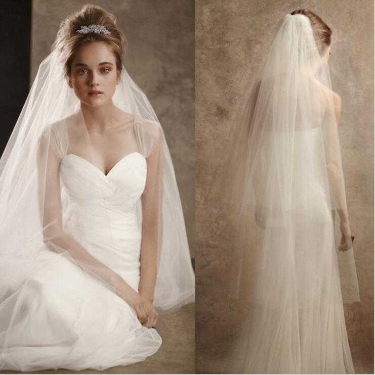 2020 New Romantic Solid Color Draped Double-layer Covering Bride Wedding Veil 2*3*4M