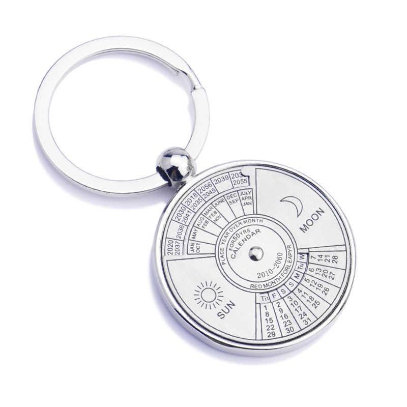 Color plata 50 años calendario súper perpetuo llaveros anillos llaveros de astrología bolso de coche colgante llavero titular regalo joyería