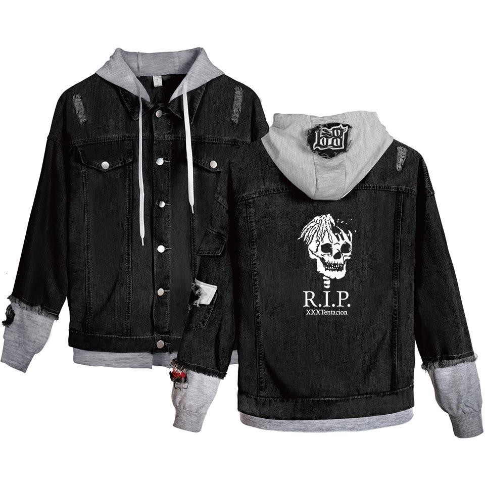 Lil Peep Loose Coat Denim Jacket For Men Long Coat Warm Cowboy Xxxtentacion Singer Jean Jacket With Black Fashion Plus Size 4XL