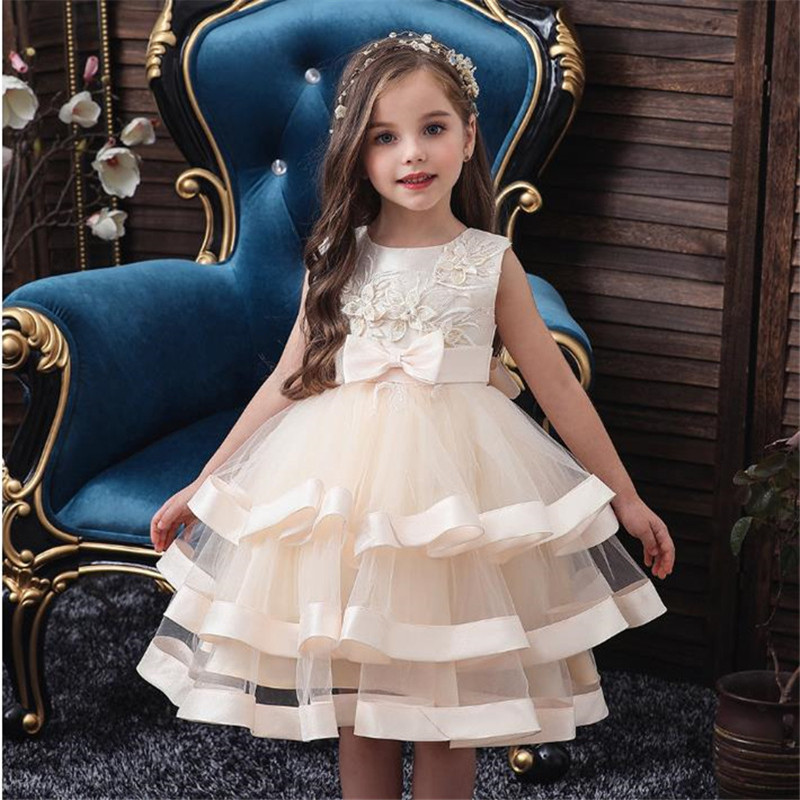 Baby Girl Dress Kids Party Costume Gift 2-10 Years Old Baby Holiday New Year Girl Children Clothing Tiered Skirt