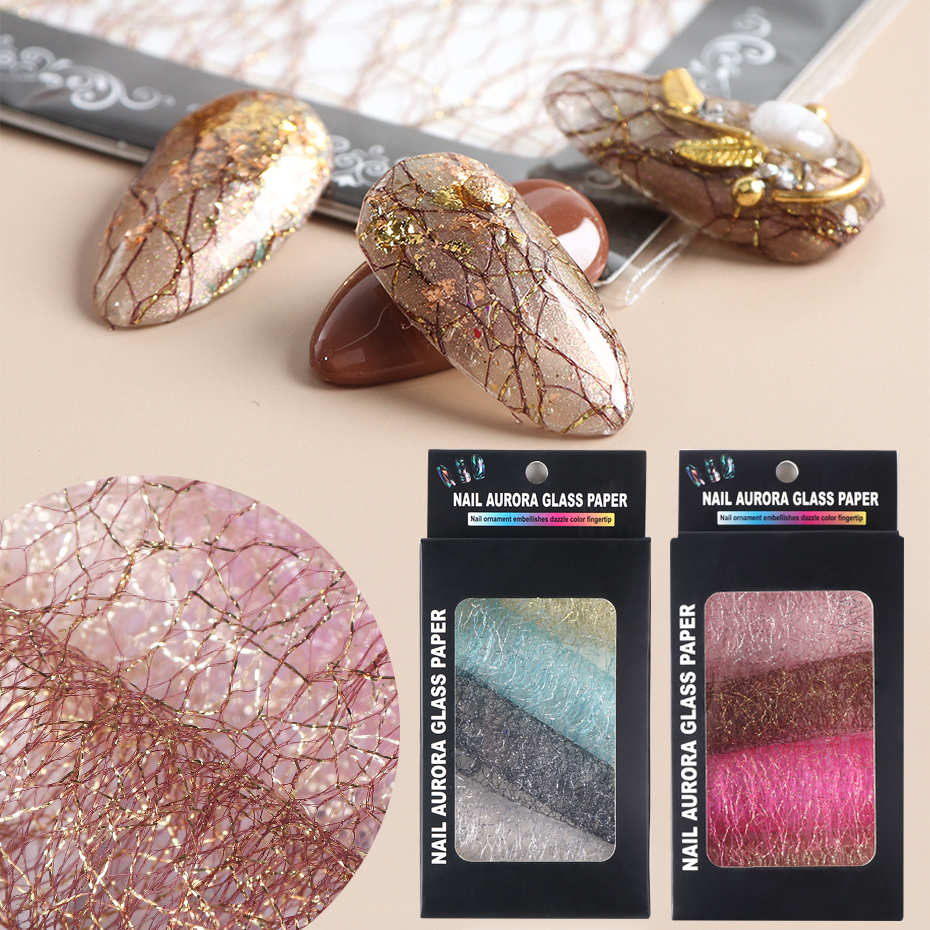 Gold Silver 3D Mesh Nail Sticker Hollow Net Line Tape Foils Lace Bronzing Nail Decals Polish Wraps Decorations Manicure SA1566