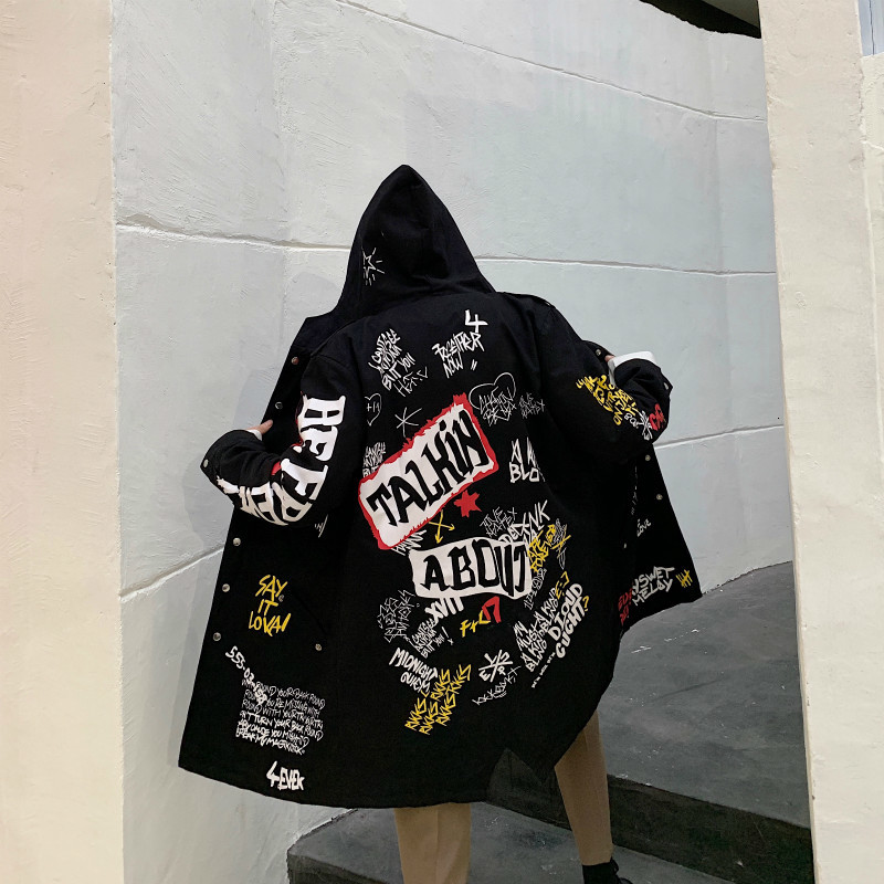 2019 Autumn And Winter New Hip Hop Personality Printing Long Windbreaker Men's Jacket Loose Clothing Coat Japan Style Black