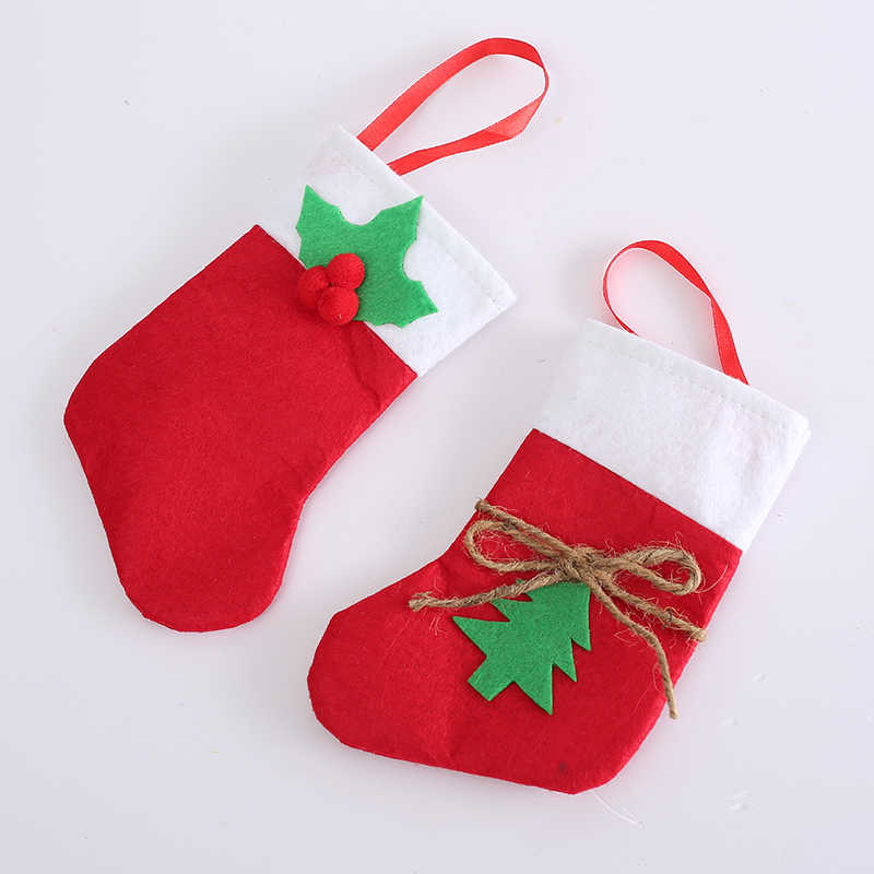 Christmas Stocking Tableware Knife Fork Holder Sack Cutlery Kitchen Table Decoration For Home Party Xmas Christmas Bags Pocket