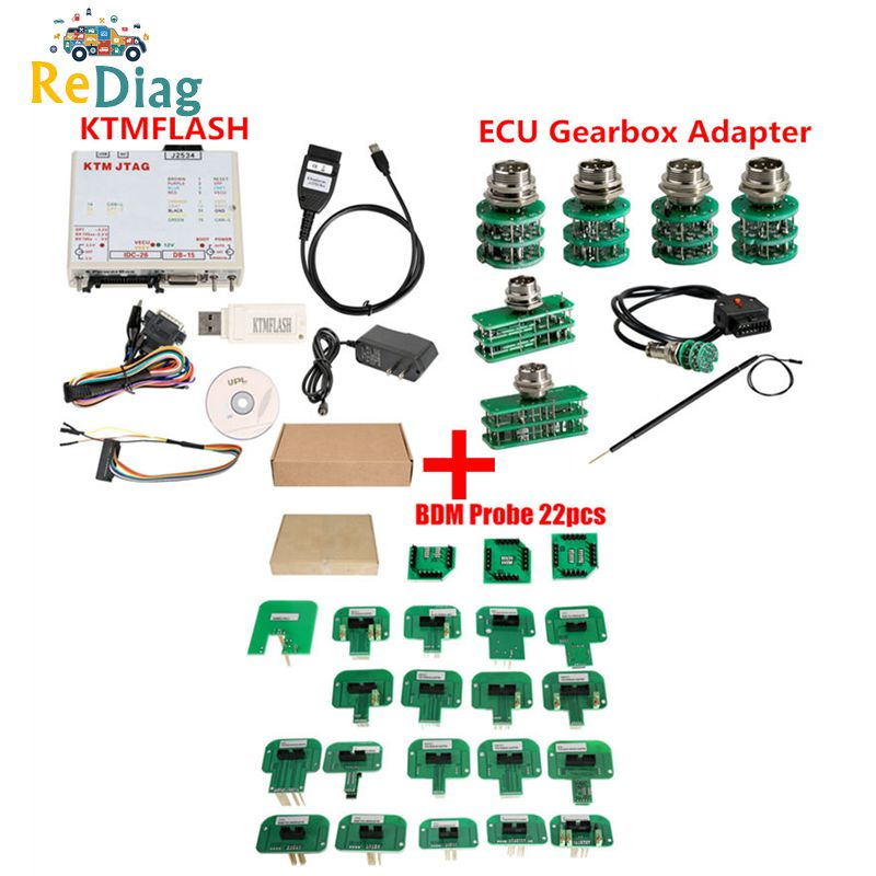 KTM KTMFLASH V1.95 Programador ECU & ferramenta de atualização de transmissão de energia Flash DiaLink BDM22pcs J2534 Cabo com Adaptador Verde