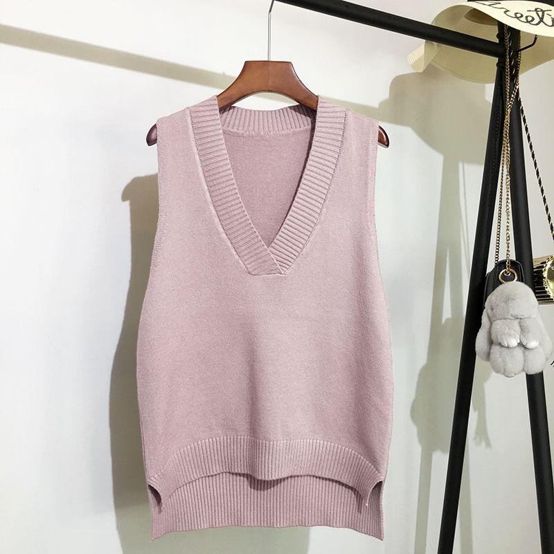 Maglione lavorato a maglia con scollo a v maglione da donna autunno e inverno nuovo maglione senza maniche maglione selvaggio allentato coreano 4