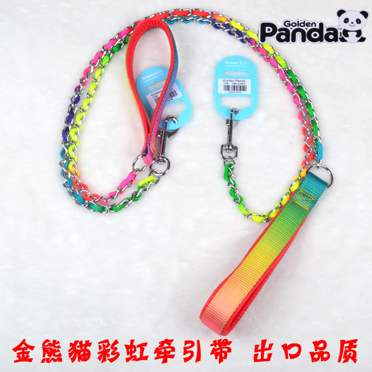 Gold Panda Rainbow Necklace Sling Pet Color Hand Holding Rope P Pendant Snake Chain Metal Dog Pendant Sub-Pet Rope