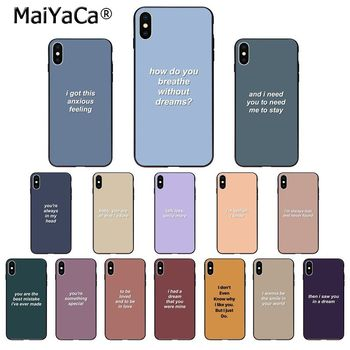 MaiYaCa colorful short inspirational quotes lyrics TPU Soft Phone Case Cover for iPhone 11 pro XS MAX 8 7 6 6S Plus X 5 5S SE XR image
