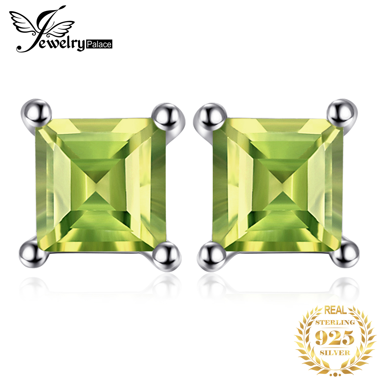 JewelryPalace Genuine Peridot Stud Earrings 925 Sterling Silver Earrings For Women Gemstones Korean Earings Fashion Jewelry 2020