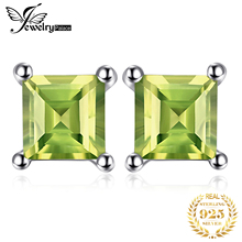 2015 New Princess Cut 0.72ct Green Natural Peridot  925 Solid Sterling Silver Fashion Women Dazzling Earrings Stud Free Shipping