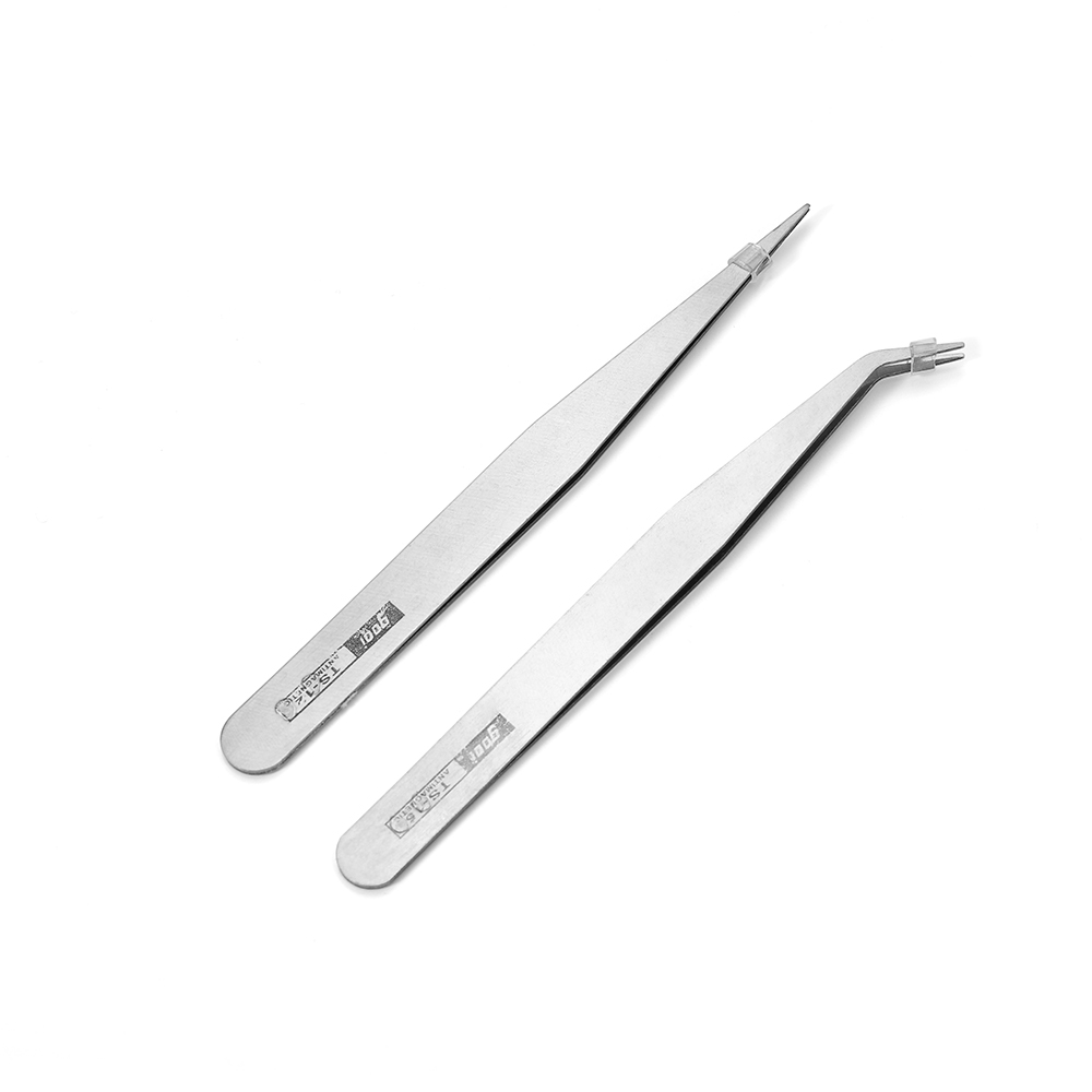 2pcs Anti-Static Excellent Quality Tweezers Bend Long Nose Cross Tweezers For Intersperse Beads Jewerly Sewing Accessories Tools
