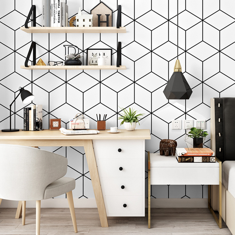 Nordic Wallpaper Ins TV Background Black And White Lattices Geometry Bedroom Living Room Modern Minimalist Online Celebrity Wall
