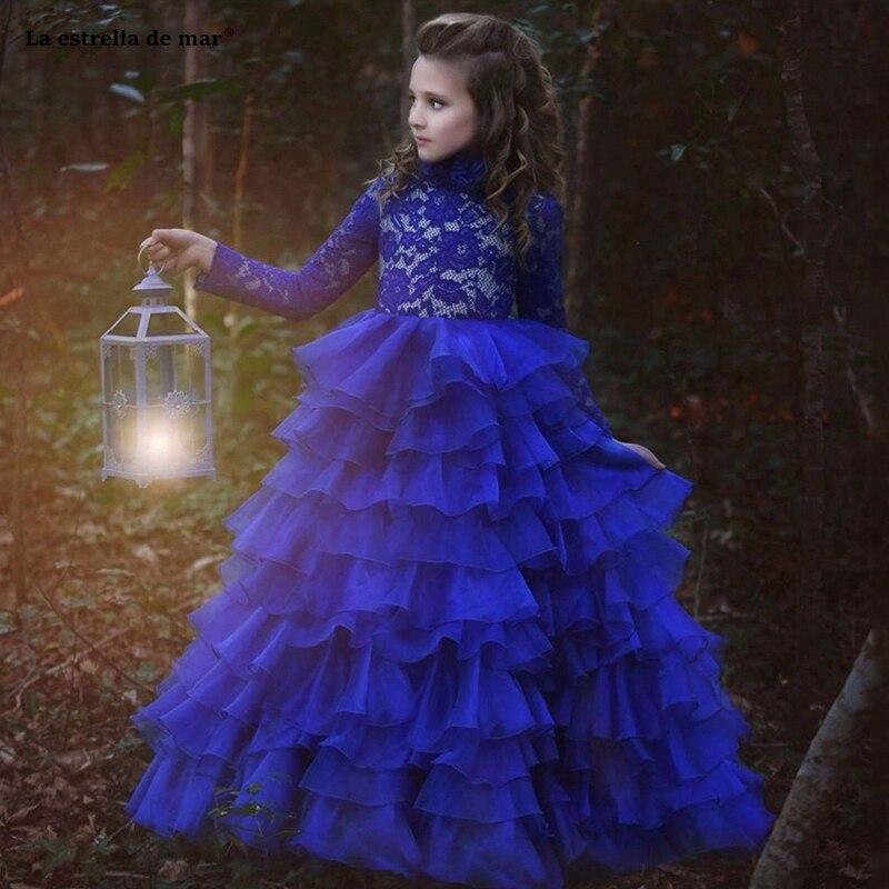 Pageant robes pour filles nouveau col haut dentelle manches longues robe de bal bleu royal fleur fille robe longue robe mariage enfant fille