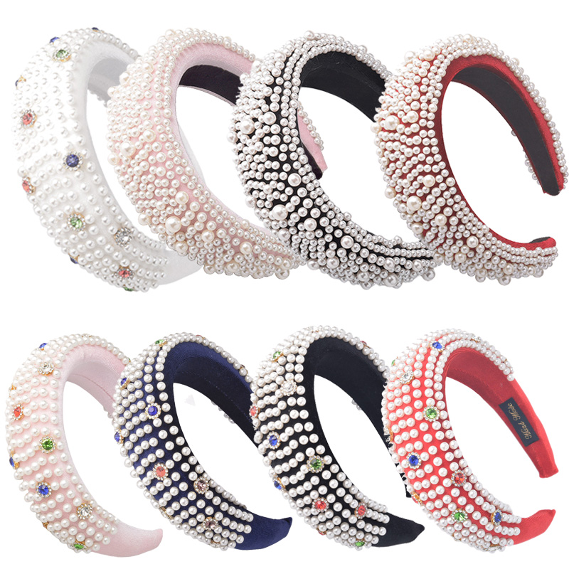 Colorful Diamond Headband Deeply Full Pearl Padded Velvet Headbands For Women Thick Alice Plush Hairband Crown  Hair Accessories