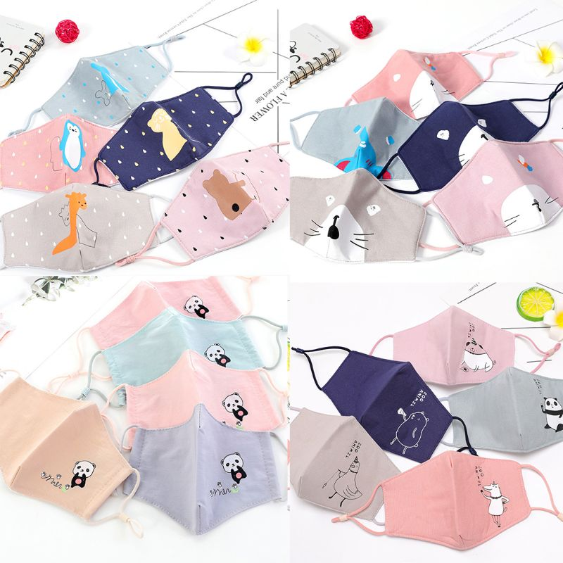 1PC Children Washable Cotton PM2.5 3D Foldable Anti Dust Mouth Mask Kids Cute Animal Print Adjustable Strap Random Color R7rf12