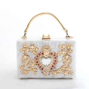 Image 3 - Luxury Acrylic Box Evening Clutch Bags Women Pearl Diamonds Heart shaped Stone Pattern Purses Handbag Ladies Shoulder Bag Dinner