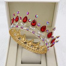 KMVEXO – couronnes rondes baroques en cristal doré, accessoires bijoux pour mariage, couronnes de reine royale et de roi, Diadem, bal de promo, 2020