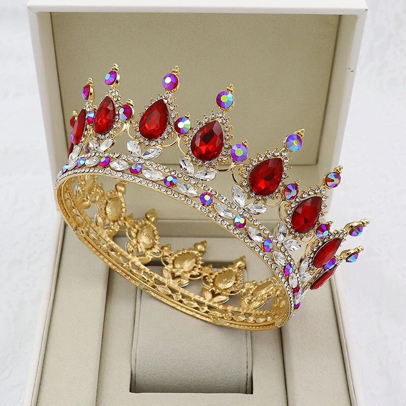 KMVEXO Ouro Tiaras De Cristal Barroco Rodada Coroa Diadema Real Rainha Coroas Do Rei do baile de Finalistas 2020 Jóias Acessórios Do Cabelo Do Casamento