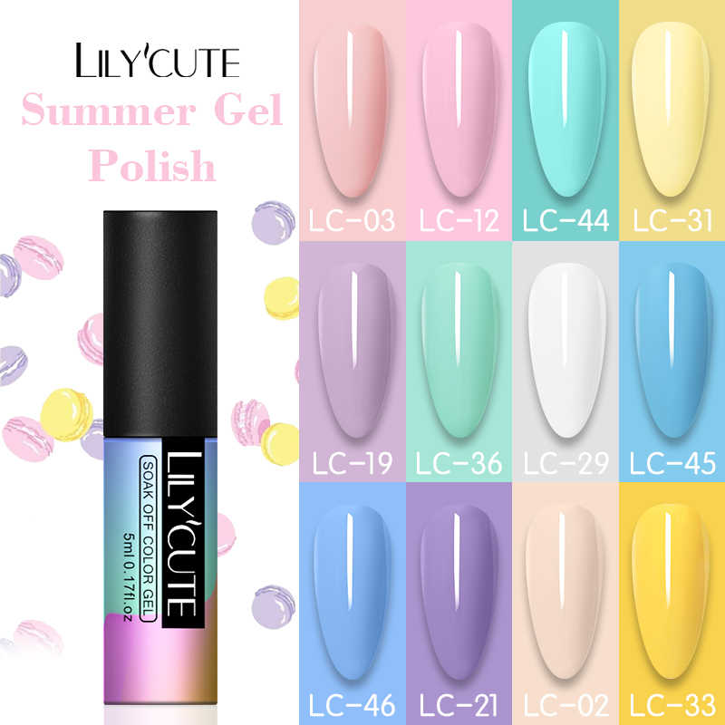 LILYCUTE D'art D'ongle de Vernis À Ongles Hybride Vernis D'été Couleur Série UV Gel Vernis Tremper Base Couche De Finition Gel Nail Art Design
