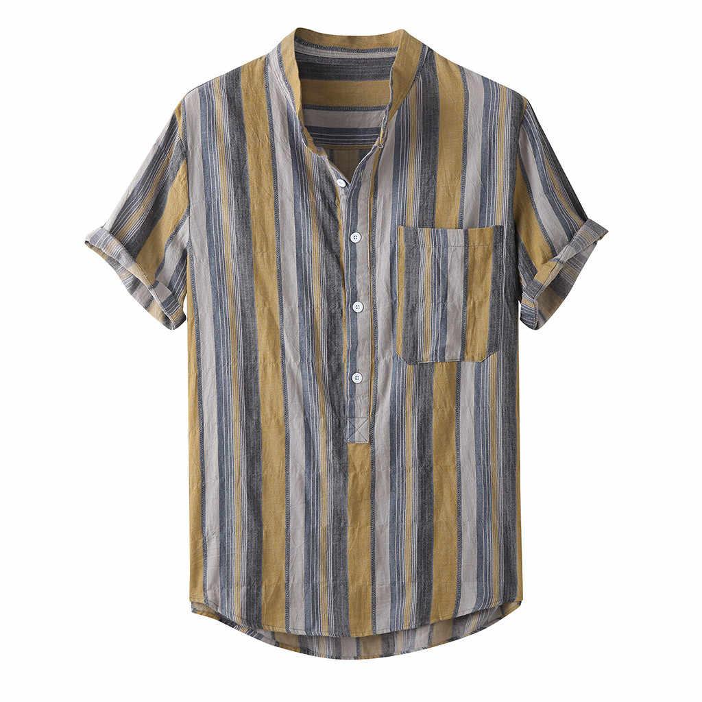 Étnico masculino topos masculinos camisas casuais de manga curta verão moda camisas casuais multicolorido listrado praia topos solto blusa camisa