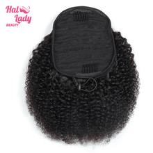 Drawstring Ponytail Human-Hair-Extensions Curly Afro Kinky Halo Indian for African Women