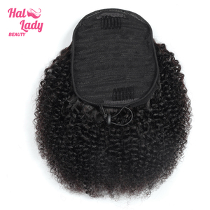 Halo Lady Beauty Drawstring Ponytail Afro Kinky Curly Human Hair Extensions Non-Remy Indian Pony Tail For African American Women