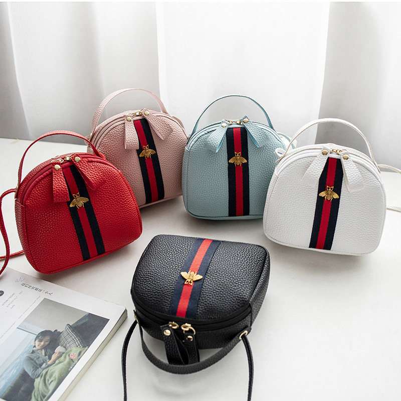 2020 Korean Style Cool Bees Women Mini Bag Spring Summer New Hipster Shell Bag Shoulder Bag Messenger Crossbody Bag PU Leather