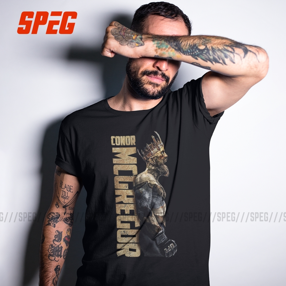 SPEG The King Of Conor McGregor MMA Notorious T Shirt Men Short Sleeve Tops 100% Cortton Tee O Neck Clothes Male Vintage T-Shirt