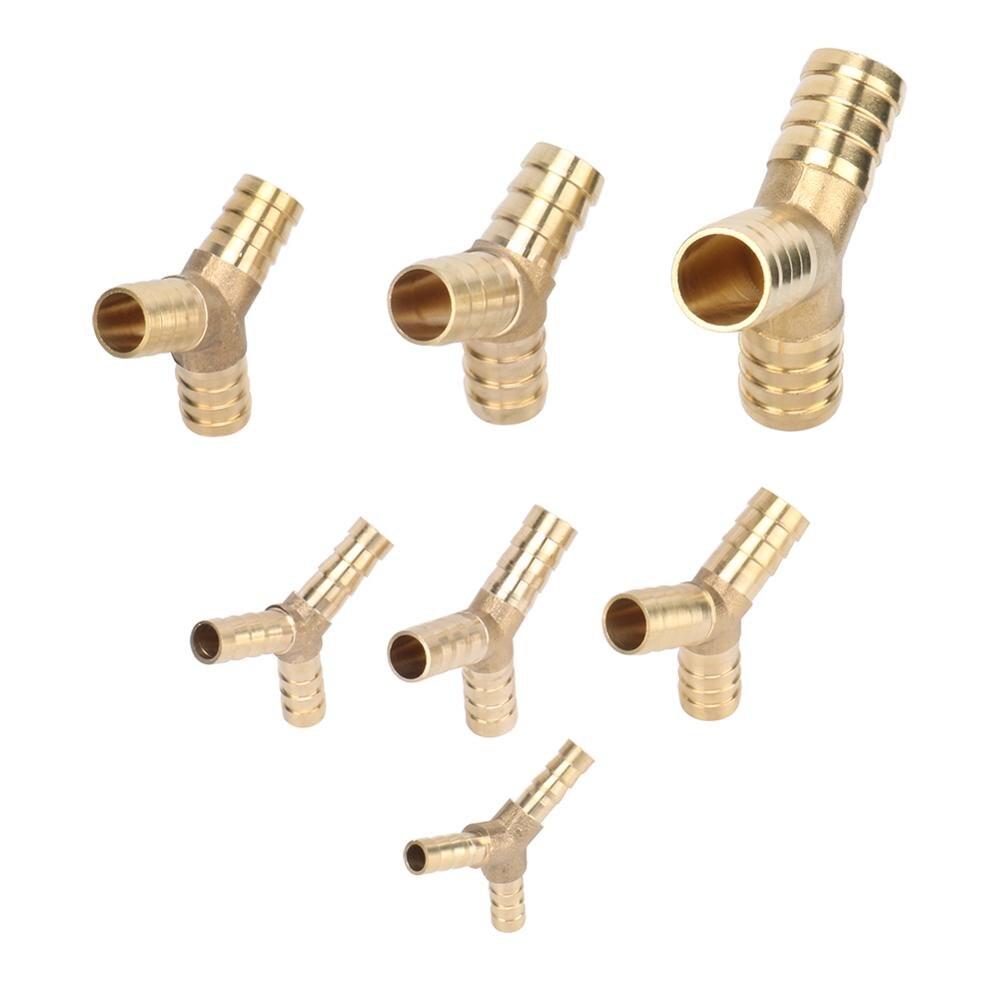 Brass Splicer Pipe Fitting Y Shape 3 Way Hose Barb 6mm 8mm 10mm 12mm 14mm 16mm 19mm Barbed Connector Joint Coupler Adapter