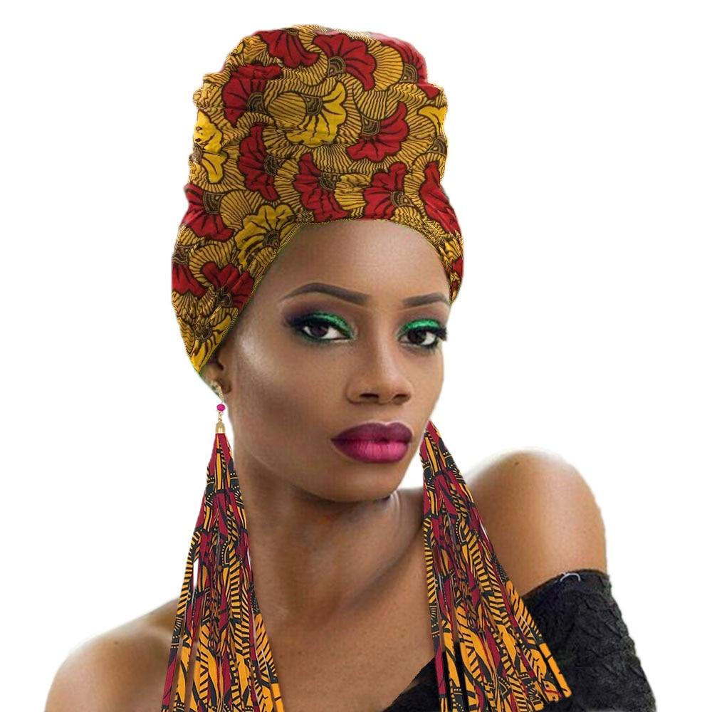 African Head Wraps For Women Ankara Head Scarf Fashion Nigerian Headtie Turban With Earrings Cotton Print Wax Fabric