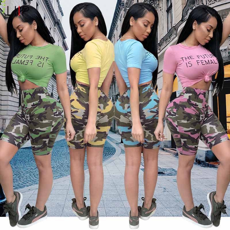 2 Piece Crop Top Shorts Sets Tracksuits Alion Womens Tracksuits
