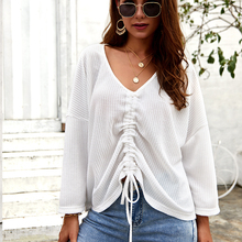 Sexy Women V-neck Knitted Top Long Sleeve Loose Sweater Autumn Winter Pullovers Sweaters new autumn winter sexy midriff baring sweaters loose solid knitted pullovers casual deep v neck sweater knitwear
