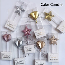 1 Pcs Love Diamond Shaped Gilded Safe Flames Kids Birthday Party Cake Candle