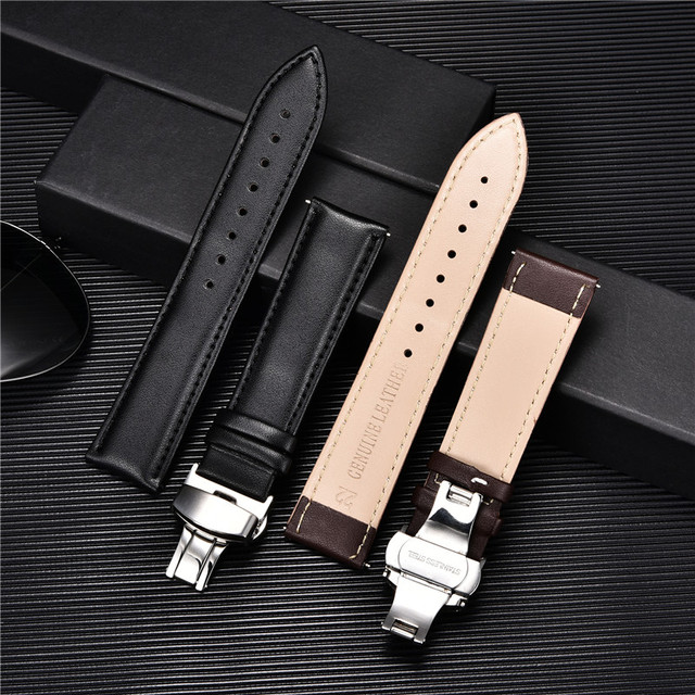 Smooth Calfskin Leather Watchband Butterfly Buckle 4