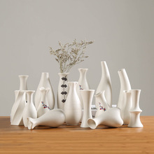 Modern White Ceramic Vases Chinese Style Simple Designed Pottery And Porcelain Vases For Artificial Flowers Decorative Figurines