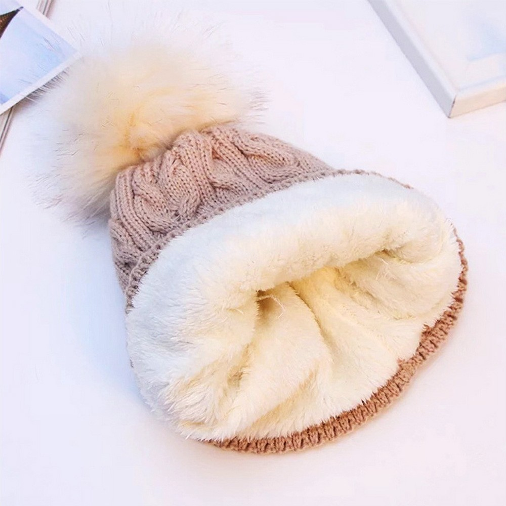 Women Winter Bonnet Soft Thick Fleece Lined Dual Layer Knitted   Beanie   With Faux Fur Pom Pom Hats Fashion Wild Outdoor Sports