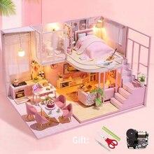 Diy kit casa de bonecas em miniatura móveis casa de boneca modelo artesanal caixa de quarto brinquedos para crianças presente natal casa de madeira para adultos