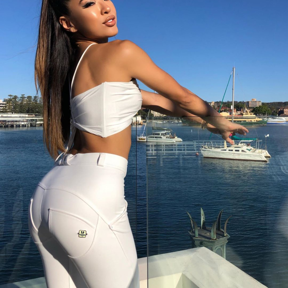 Melody White Pants Non-animal Leather Compression Wear Shinning Skinny Leggings Women Sweatpants Full Length Pencil Pants