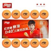 Dhs 3-estrela d40 + laranja tênis de mesa bola 3 estrelas novo material costurado abs plástico poli ping pong bolas