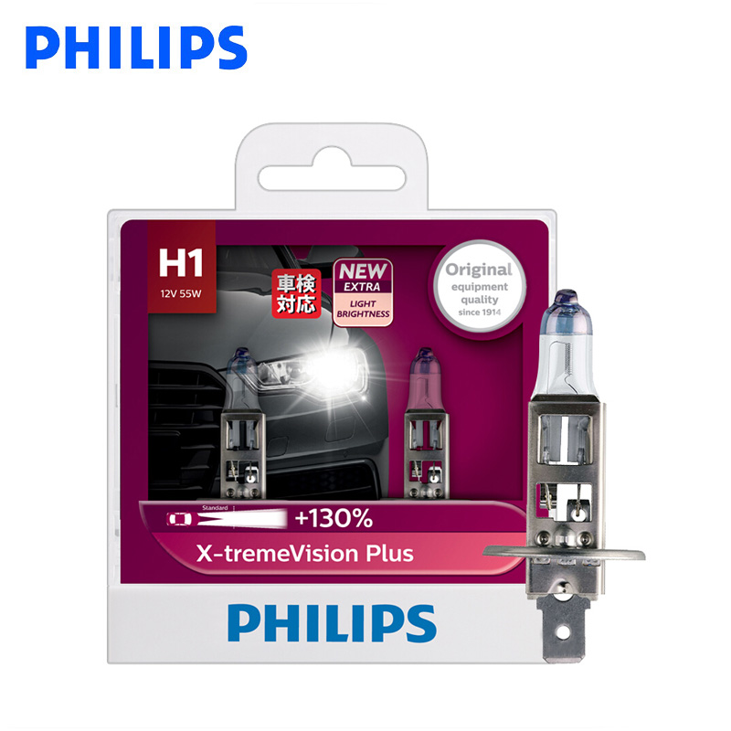 Philips H1 H4 H7 12V X-treme Vision Plus Bright Xenon White Light Car Halogen Headlight Car Lamp ECE Approve 130% Brighter, Pair