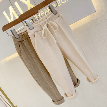 Baby Girls Pants Knitted Elastic Casual Pants Spring Autumn Children's Wear 2021 Casual Clothes Trousers Girl Solid Full Length 1