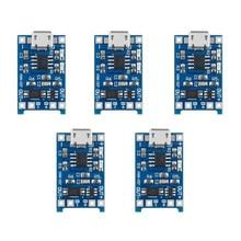 Carregador de bateria de lítio 5 peças, 5v 1a micro usb 18650 placa de carregamento módulo + funções duplas tp4056