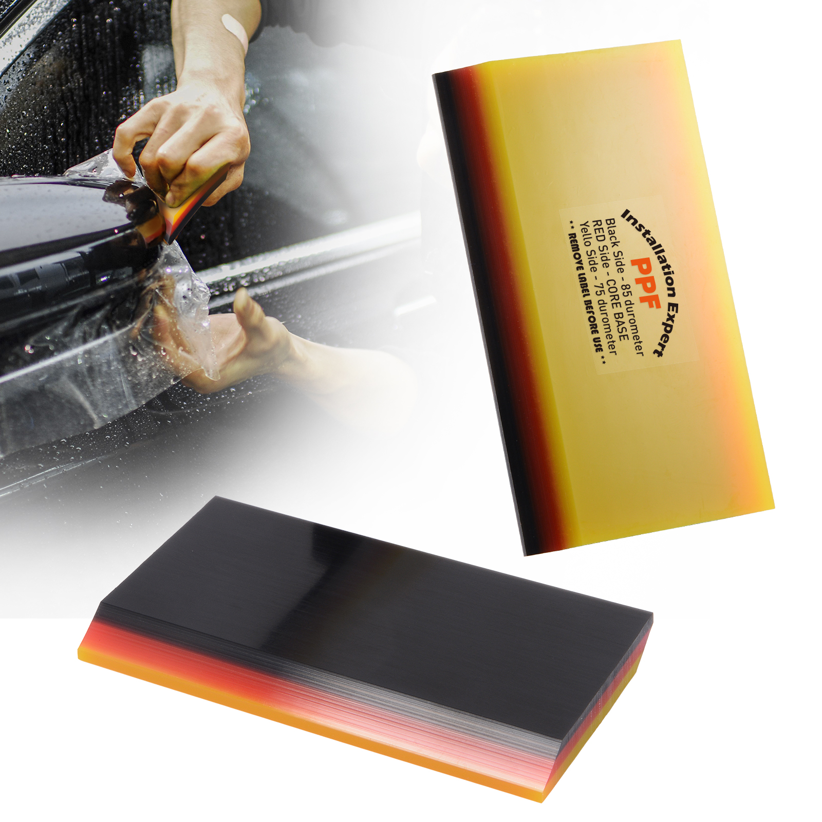 FOSHIO 3 Layer Soft Squeegee Carbon Fiber Sticker Remover Car Wrap Vinyl Film Install 2in1 Scraper Window Tint Car Cleaning Tool