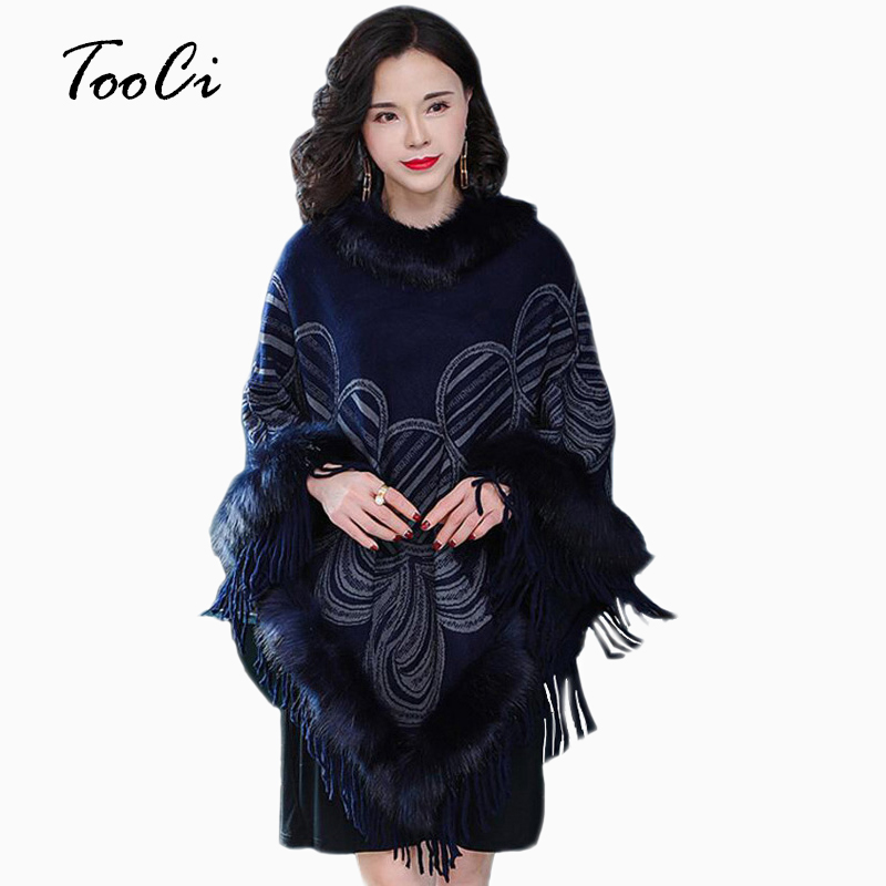 New Fashion Autumn Women Fake Fox Fur Collar Cloak Pullover Lady Bat Sleeves Dark Blue Tassel Poncho Sweater Winter Coat