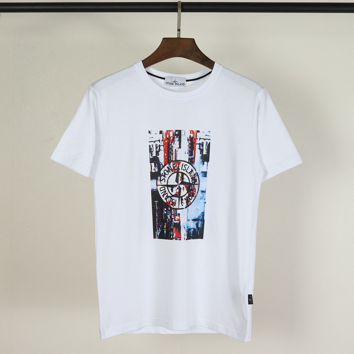 New Style Europe And America Popular Brand Stone Pure Cotton Fashion Crew Neck Short Sleeve Teenager Couples