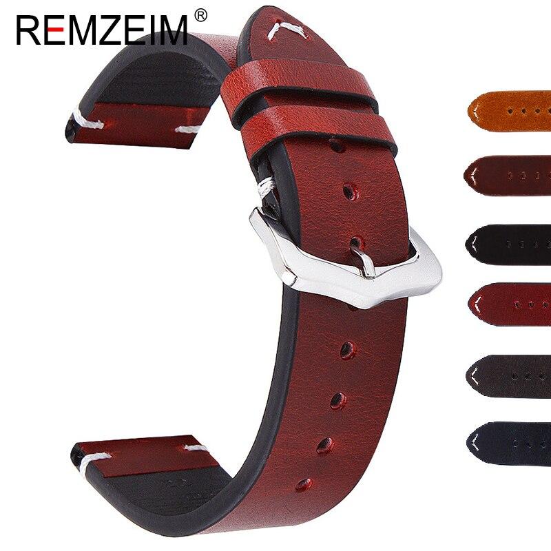 REMZEIM Wax Oil Skin Watch Straps 18mm 20mm 22mm Red Green Blue Black Vintage Genuine Leather Watchband Calfskin Watch Straps