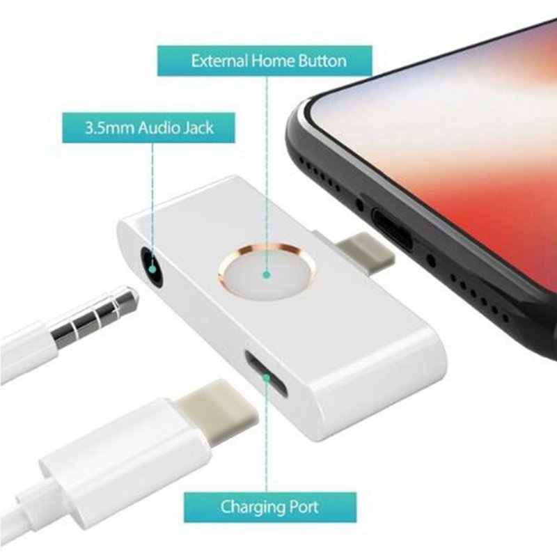 Hot 3C-For iPhone X XR XS 8 Ipad iOS 12 11 10 Home Button Audio Adapter Hoofdtelefoon Converter Ondersteuning Home key Audio 3.5mm Jack een