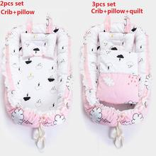 3pcs Baby Nest+Pillow+Quilt Set Baby Lounger Cotton Portable Crib for Newborn Infant Travel Bed Baby Bassinet Bumper with Pillow